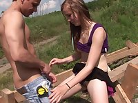 Eighteen year old brunette teen rides her boyfriend outdoors