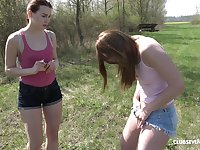 Lesbian outdoor fingering with Charli Red and Kizzy Sixx