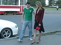 Girl gets fucked by two in a public place