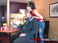 Zarah gets her pussy and butt filled with a big boner on the table