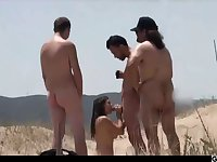 Couple Split By Strangers On A Nude Beach - outdoor