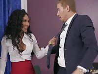 strong and horny dude feeds Amia Miley with his hard and fat boner