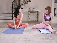 After yoga class Whitney Wright please her friend's pussy on the floor
