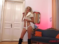 Blonde with small tits Monique Woods sucks and rides cock in boots