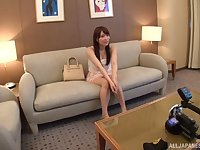 Japanese teen babe Hibino Satomi hard fucked until she gets a facial