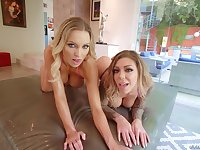 Bombshell blonde whores Kenzie Taylor and Karma RX share cum