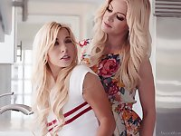 Fit lesbians Kenzie Reeves and Serene Siren have fun in the kitchen