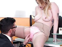 Messy office blowjob from secretary Lucia Fernandez gets her a cumshot