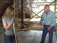 Old bald man seduced by teen babe Jenny into a hard fuck