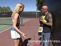Long haired blonde teen slut blows and rides dick after a tennis match