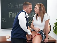 Biology teacher is seduced by dirty-minded coed before final exam