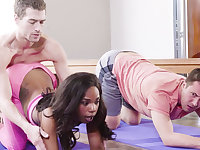 Naughty ebony honey bangs her yoga lecturer and her friend