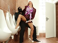 Bathroom extreme with a masked man for Nikky Thorne