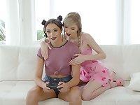 Blond lesbian babe licks hairy pussy of brunet girlfriend Avi Love