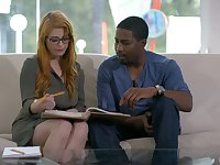 Red haired business lady Penny Pax is ready for steamy interracial sex