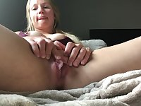 Blonde Oozes and Squirt Grool All Over Her Thick Thighs