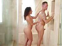 Gorgeous babe Liv Revamped gives a blowjob and nuru massage to her new client