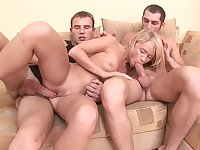 Girlfriend hard fucked in both holes by the two lovers