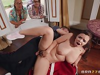 Chubby brunette Sofia Lee gets her cunt fucked by her horny friend