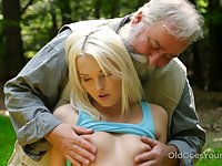 Slender blonde bitch is fucked doggy hard near the tent and by old pervert