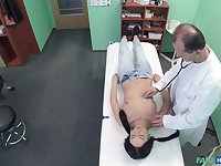 Spy camera in doctors office films him fucking a brunette patient