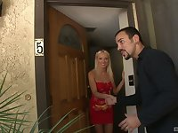 Horny blonde wife Diana Doll can't wait for her husband to come home