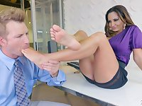 Bodacious milf Ava Addams hooks up with one married guy with foot fetish