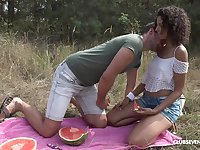 Cute curly Hungarian girl Bunny Love gets her wet pussy licked outdoors