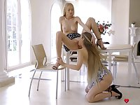 Greedy pussy licking with cute teens Mary Rock and Nancy A