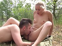 The dick makes her very happy and thirsty for sperm