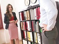 Fucking awesome boobs of new secretary Karina Grand needs to be jizzed