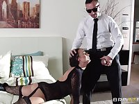 Horny wife Alektra Blue in lingerie fucked by a massive dick
