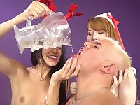 Pornstars Veronica Rodriguez and Gwen Star squirt during a 3-way
