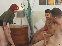 Busty redheaded teacher Edyn Blair enjoying some hot bisexual threesome