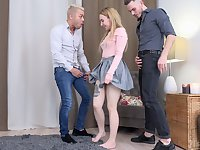 Attractive model Bella Mur fucked and double penetrated by two dudes