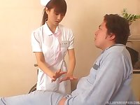 Japanese nurse drops her panties to ride her patient's stiff cock