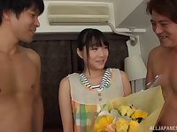 Adorable Japanese Suzukawa Ayana spreads her legs to be pleasured