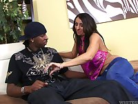 Busty brunette MILF with giant booty Raven Black loves working on fat BBC
