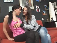 Lesbo babes enjoy licking their pussies and assholes on the sofa