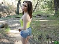 Sexy hitch hiker Spencer Bradley gives a blowjob outdoor