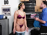 Juicy babe Lilly Hall fucks a security guard to pay off her shoplifting debt